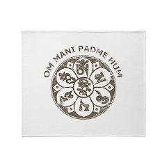 Vintage Om Mani Padme Hum Throw Blanket
