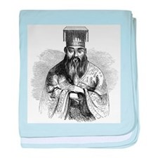 Hand Drawn Confucius baby blanket