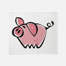 Cute Cartoon Pig Throw Blanket