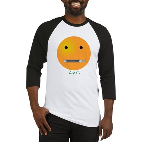 Zip It Smiley Face Emoticon Baseball Jersey