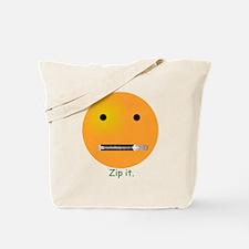 Zip It Smiley Face Emoticon Tote Bag