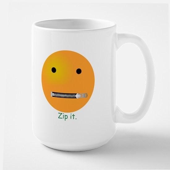 Zip It Smiley Face Emoticon Large Mug