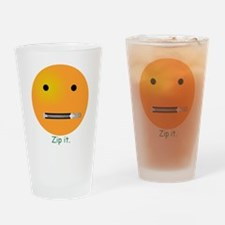Zip It Smiley Face Emoticon Drinking Glass