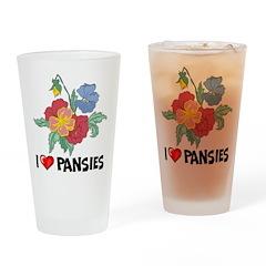 I Love Pansies Pint Glass