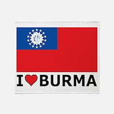 I Love Burma Throw Blanket