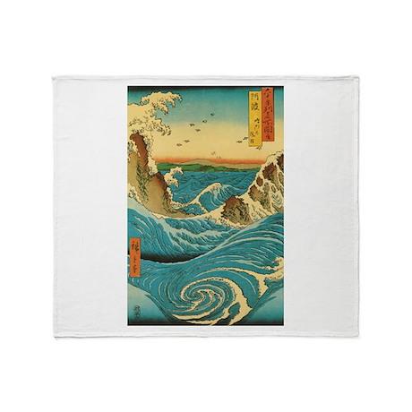 Hiroshige Navaro Rapids Throw Blanket