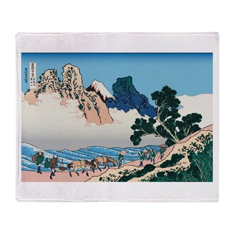 Hokusai Minobu River Throw Blanket