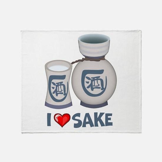 I Love Sake Throw Blanket