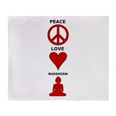 Peace Love Buddhism Throw Blanket