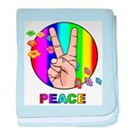 Colorful Peace Symbol baby blanket