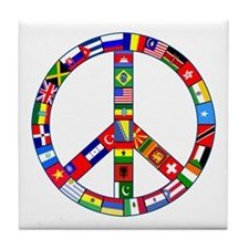 Peace Sign Made of Flags Tile Coaster