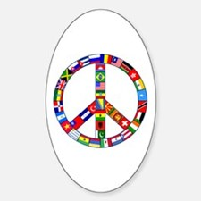 Peace Sign Made of Flags Decal
