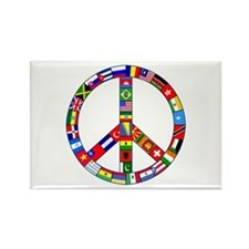 Peace Sign Made of Flags Rectangle Magnet