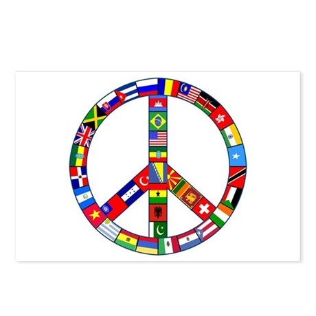 Peace Sign Made of Flags Postcards (Package of 8)