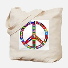Peace Sign Made of Flags Tote Bag