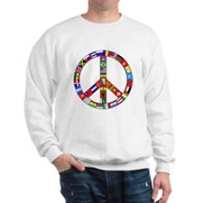 Peace Sign Made of Flags Sweatshirt