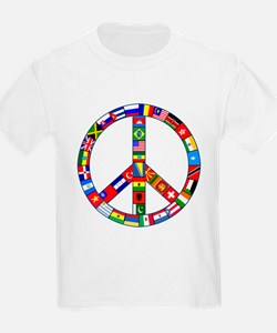 Peace Sign Made of Flags T-Shirt