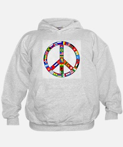 Peace Sign Made of Flags Hoodie