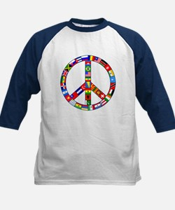 Peace Sign Made of Flags Kids Baseball Jersey