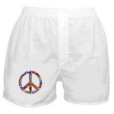 Peace Sign Made of Flags Boxer Shorts