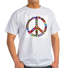 Peace Sign Made of Flags Ash Grey T-Shirt