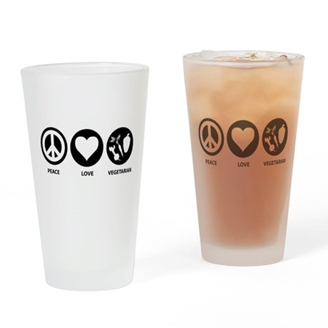 Peace Love Vegetarian Pint Glass
