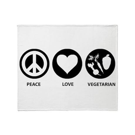 Peace Love Vegetarian Throw Blanket