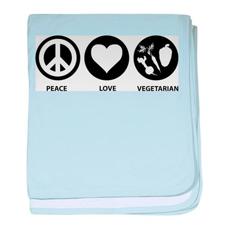 Peace Love Vegetarian baby blanket