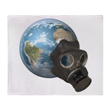 Gas Mask Earth Throw Blanket