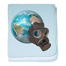 Gas Mask Earth baby blanket