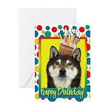 Birthday Cupcake Shiba Inu Greeting Card