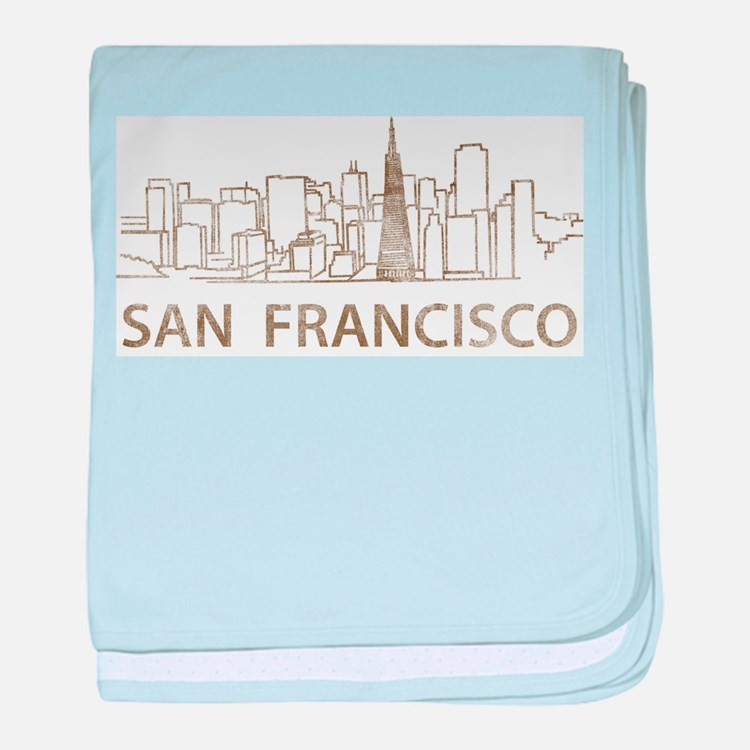 Vintage San Francisco baby blanket