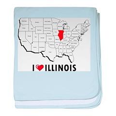 I Love Illinois baby blanket