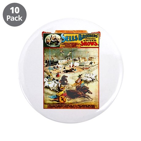 """Sells Bros. Three-Ring Circus 3.5"""" Button (10 pack"""