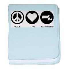 Peace Love Massachusetts baby blanket