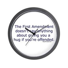 First Amendment / hug if offended Wall Clock