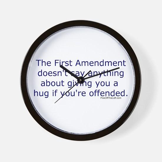 First Amendment / hug if offended Wall Clock