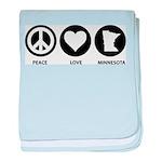 Peace Love Minnesota baby blanket