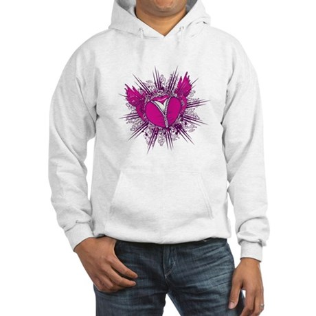 funky unzipped heart vector illustration Hooded Sw