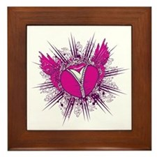 funky unzipped heart vector illustration Framed Ti