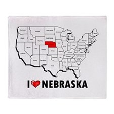 I Love Nebraska Throw Blanket