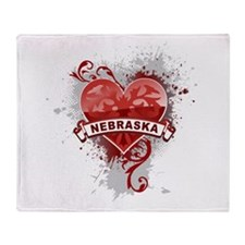 Heart Nebraska Throw Blanket