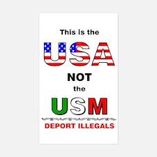 USA not USM Rectangle Decal