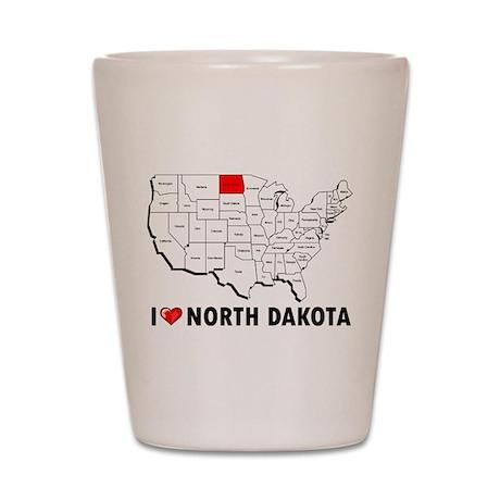 I Love North Dakota Shot Glass