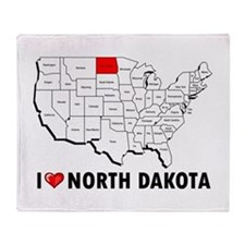 I Love North Dakota Throw Blanket