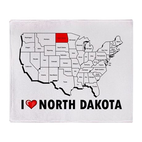 I Love North Dakota Throw Blanket