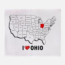 I Love Ohio Throw Blanket