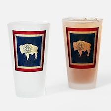 Grunge Wyoming Flag Drinking Glass