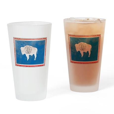 Vintage Wyoming Flag Pint Glass