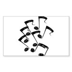 MUSICAL NOTES Sticker (Rectangle 50 pk)